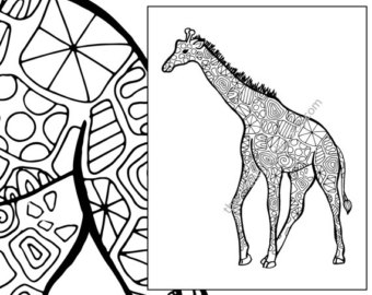 340x270 Giraffe Coloring Page Animal Coloring Page Adult Coloring