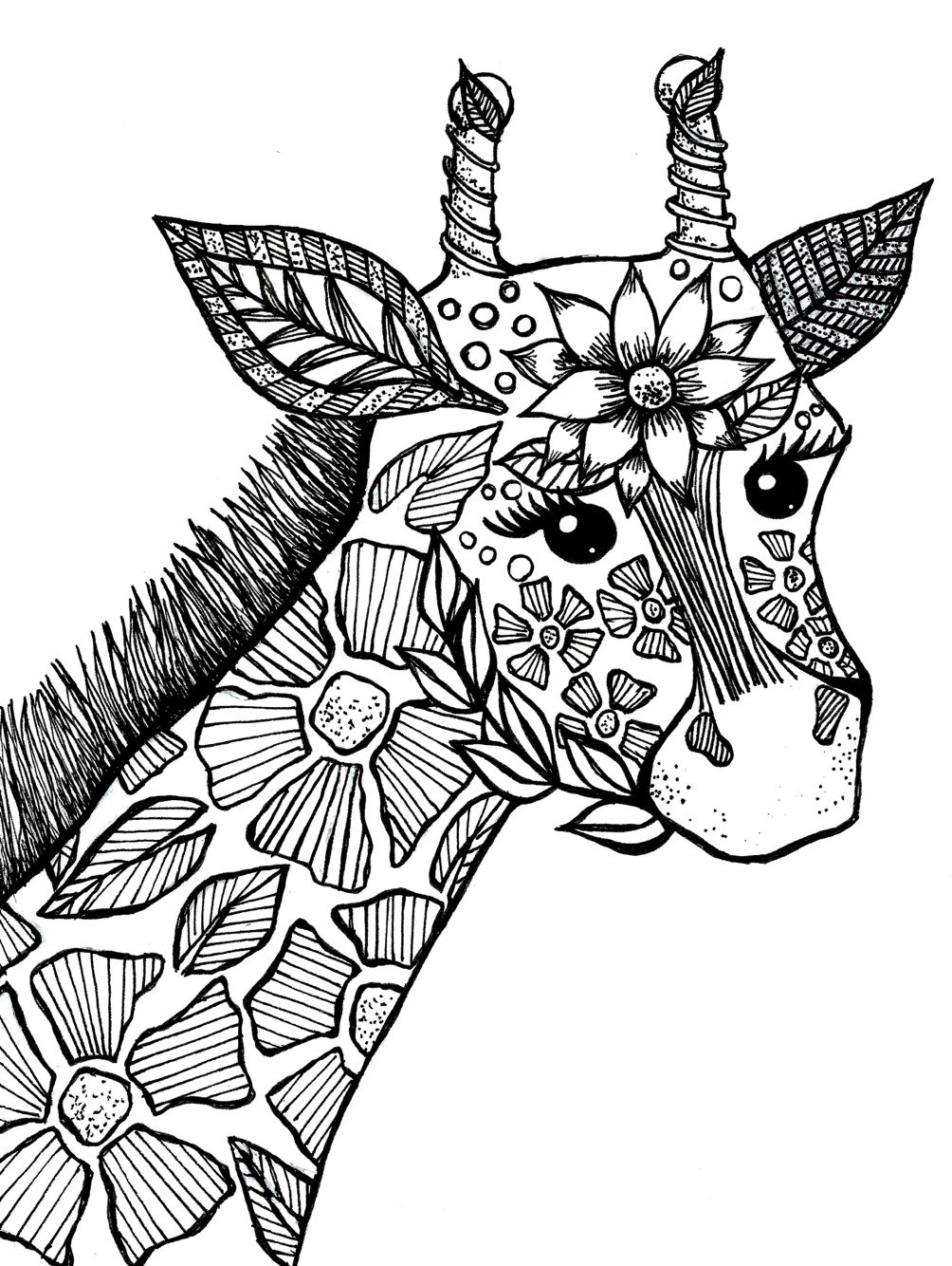 1004x1334 Giraffe Adult Coloring Book Page Drawings I've Made