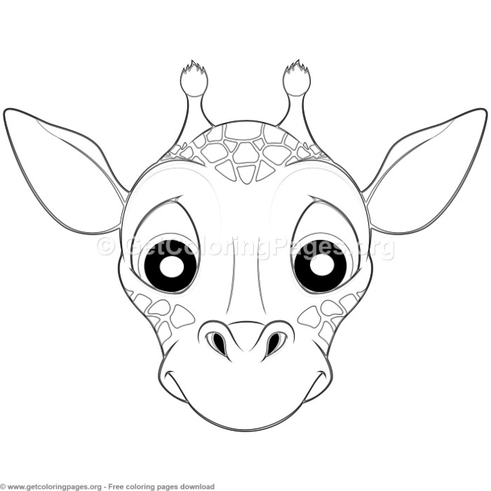 700x700 Giraffe Animal Face Mask Coloring Pages