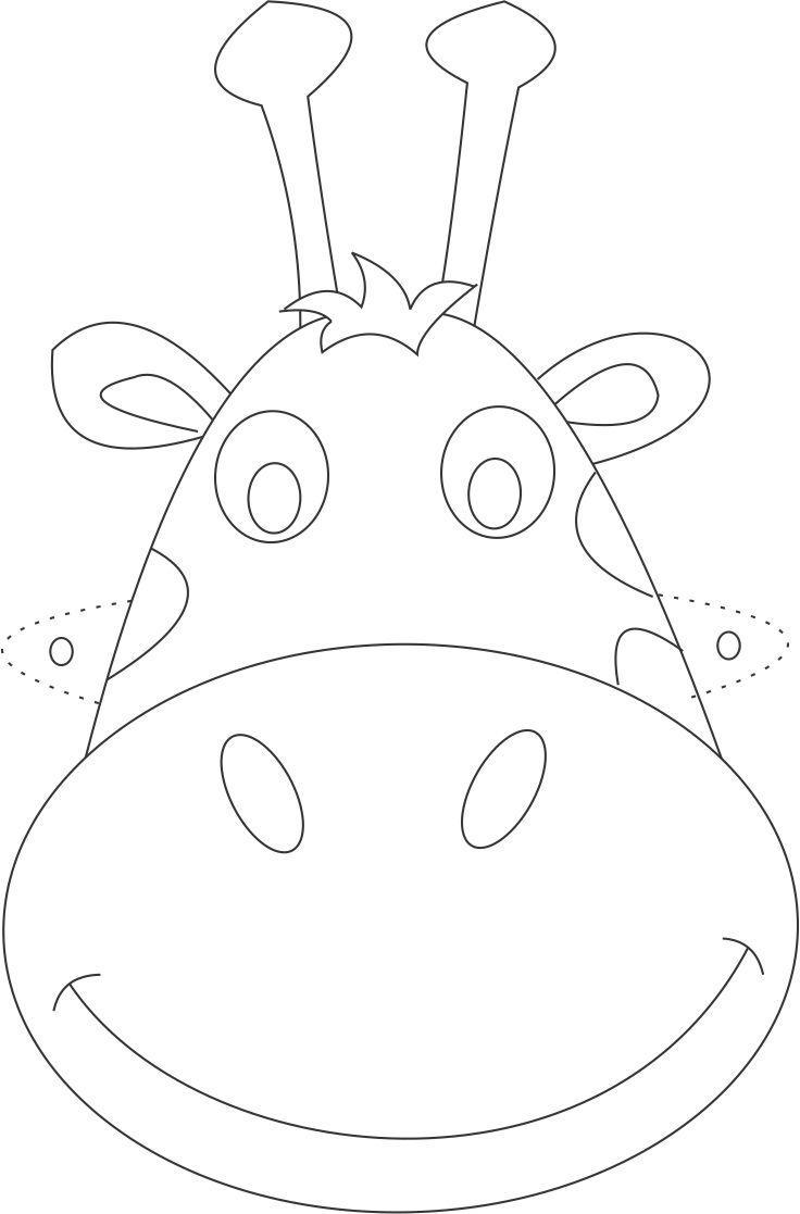 736x1117 Giraffe Mask Printable Coloring Page For Kids