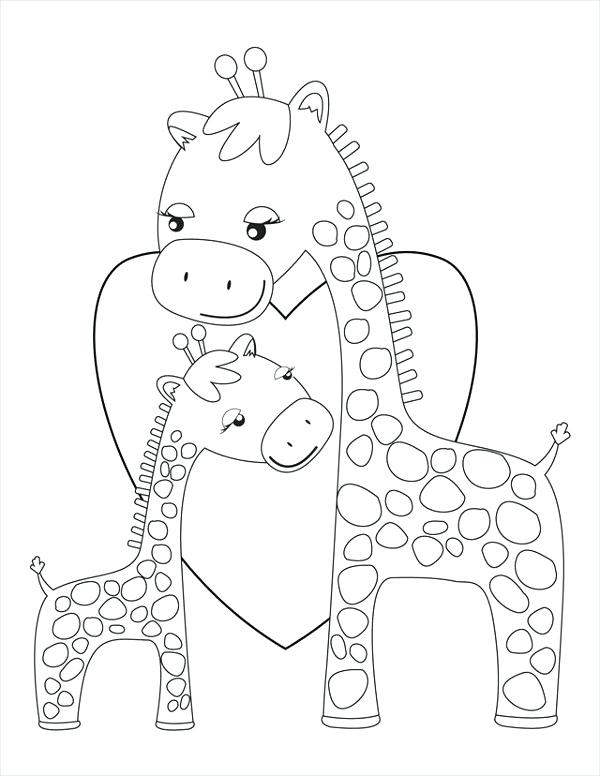 600x776 Printable Baby Giraffe Coloring Pages