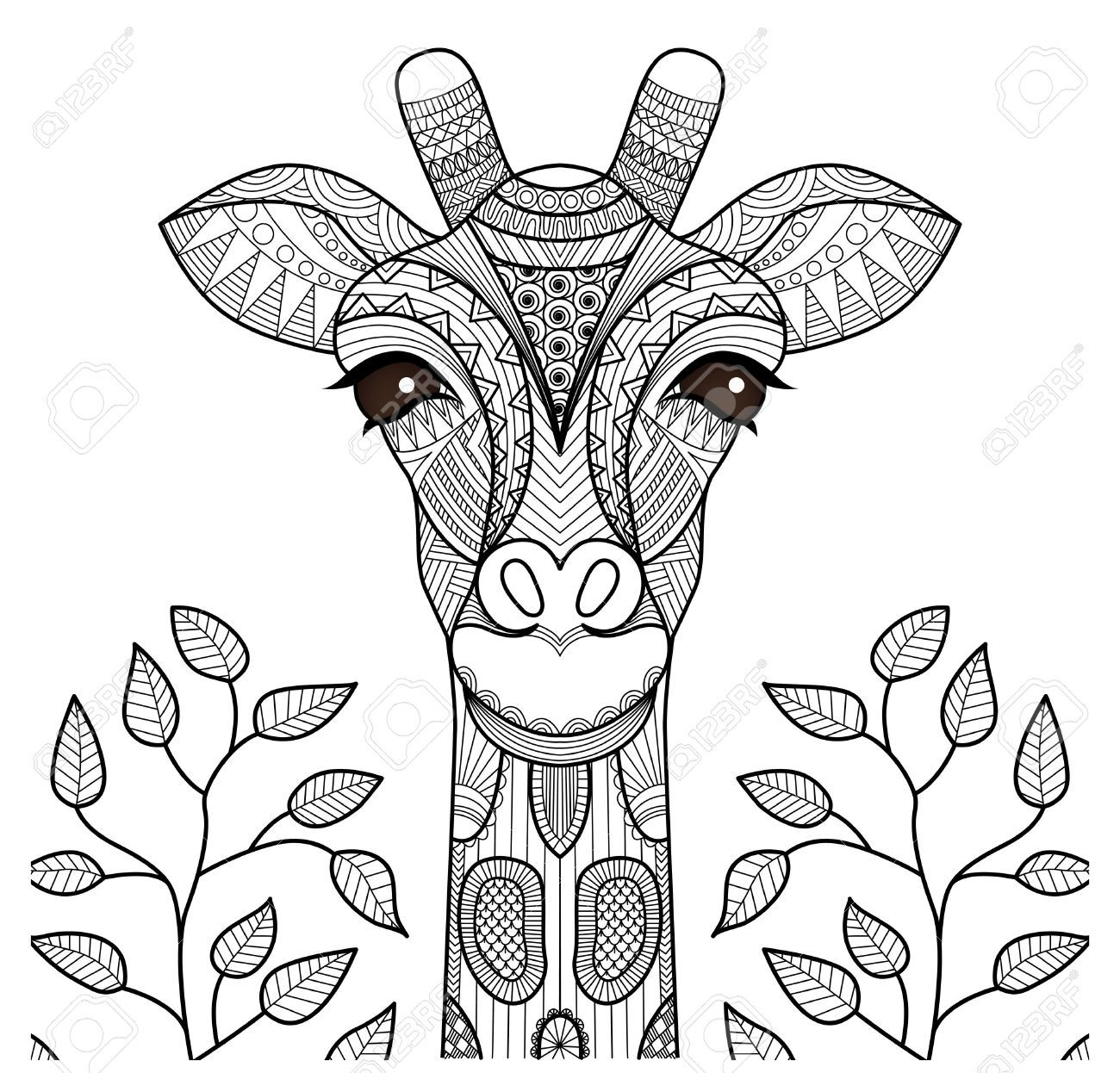 1300x1246 Zentangle Giraffe Head For Coloring Page, Shirt Design And So