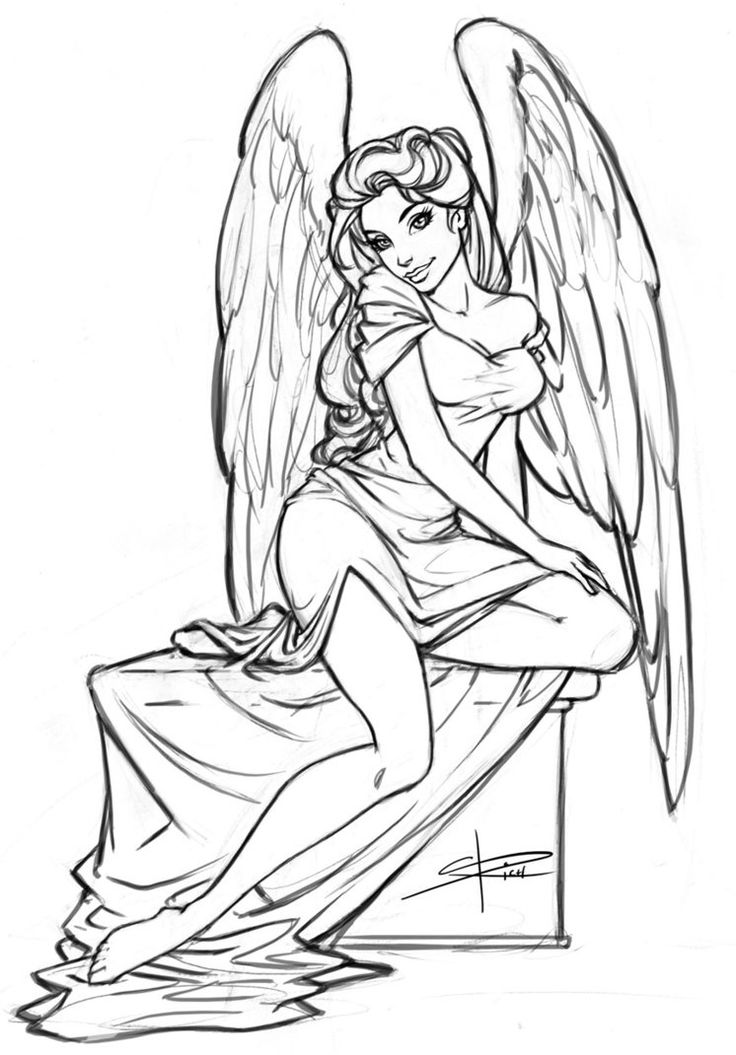 Girl Angel Coloring Pages