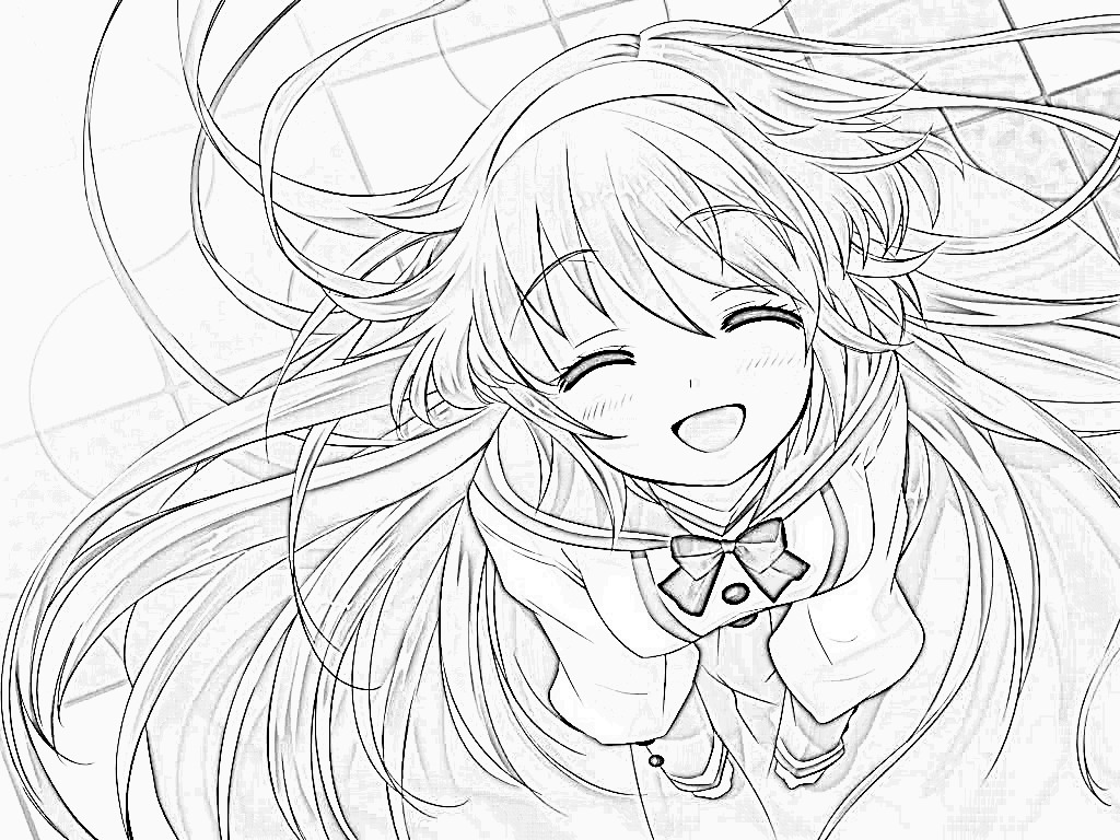 1024x768 Anime Girl Coloring Pages