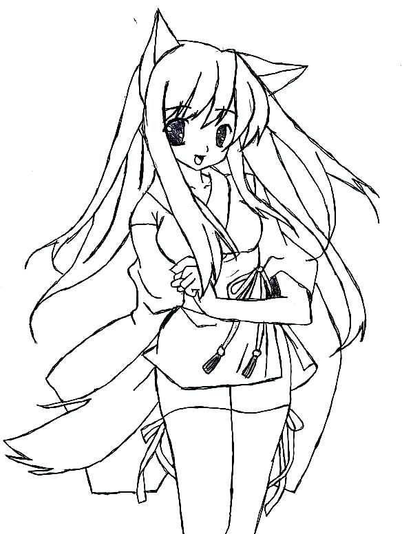 600x776 Free Anime Coloring Pages Anime Coloring Pages Anime Cat Girl