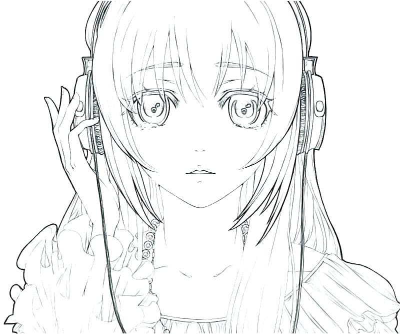 800x667 Kids Coloring Pages Printable For Anime Girl Free Coloring Free