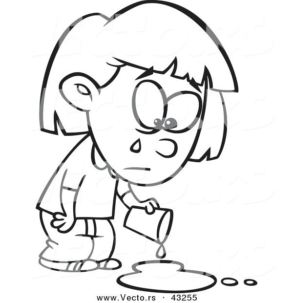 600x620 Girl Face Coloring Page Vector Of Sad Cartoon Girl Crying Over
