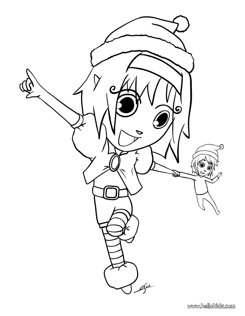Girl Elf Coloring Page