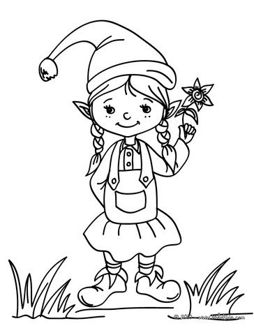 364x470 Cute Little Girl Elf Coloring Pages