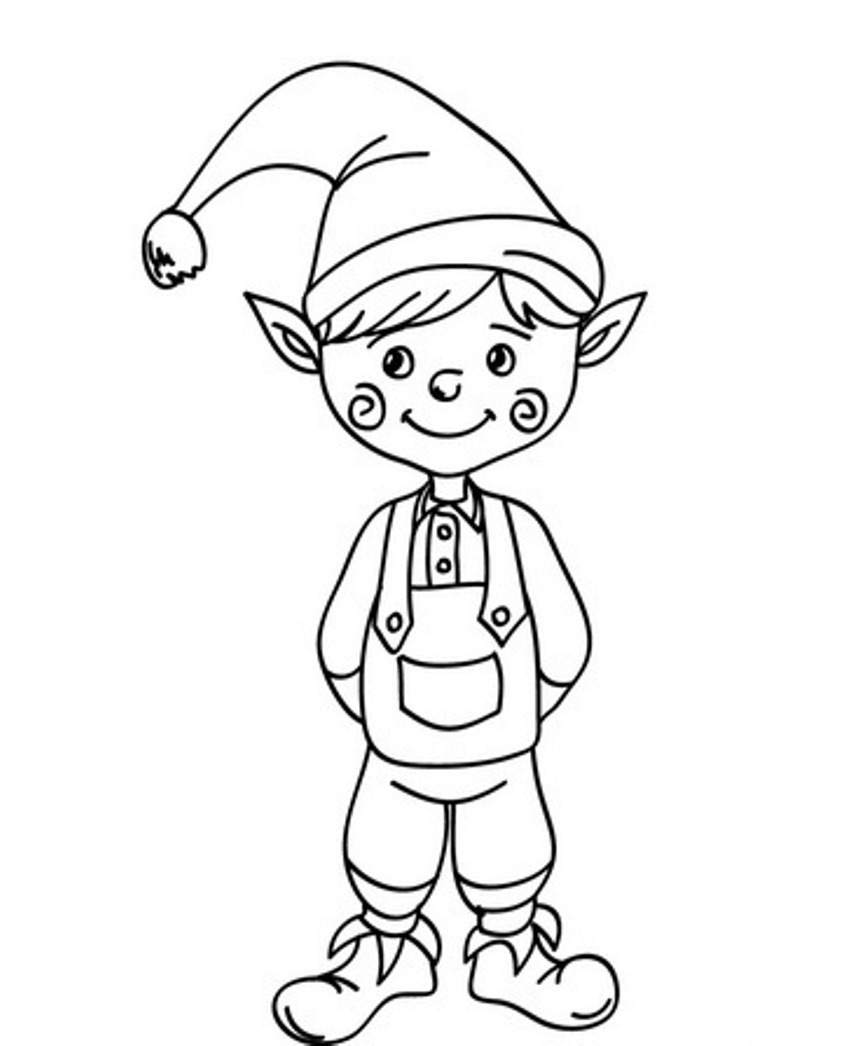 852x1046 Elf Coloring Pages
