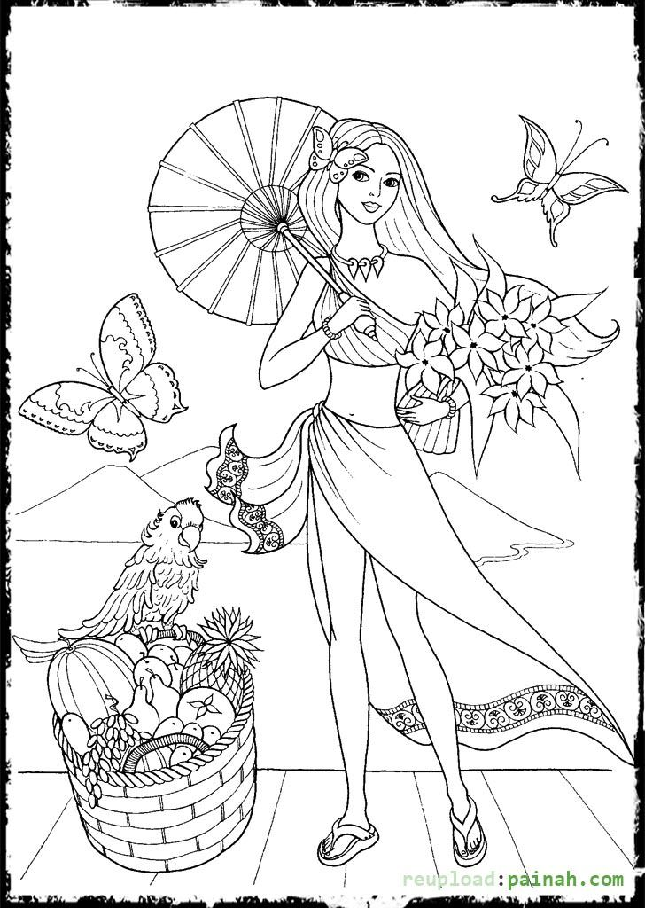 728x1024 Fashion Coloring Pages For Girls With Umbrella Coloring Pages