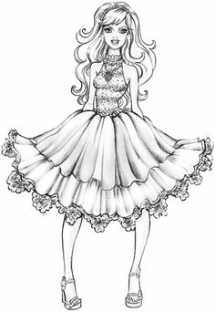 236x342 Fashionable Girls Coloring Pages Digi Art