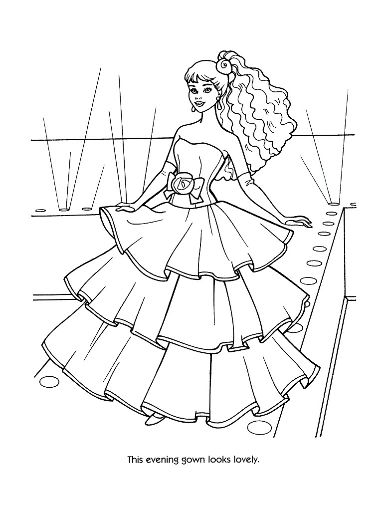 768x1024 printable barbie coloring pages for girls fashion
