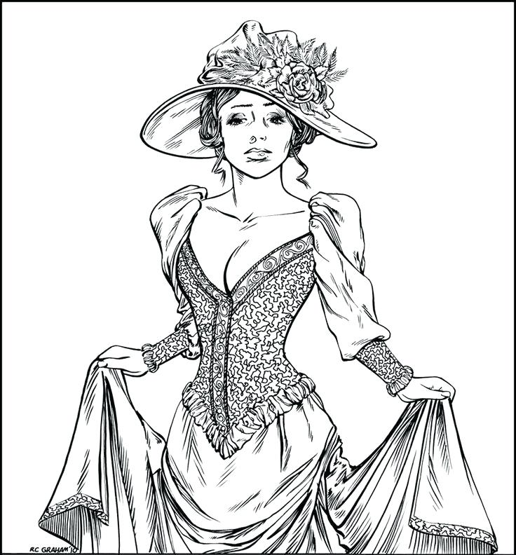 736x792 Vintage Clothing Coloring Pages