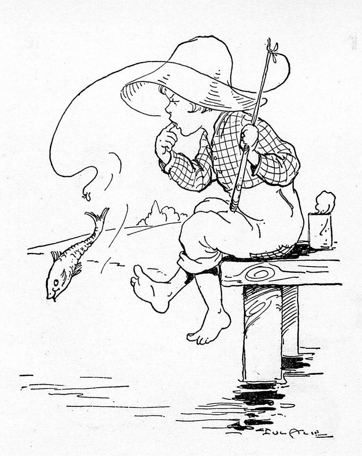 Girl Fishing Coloring Pages