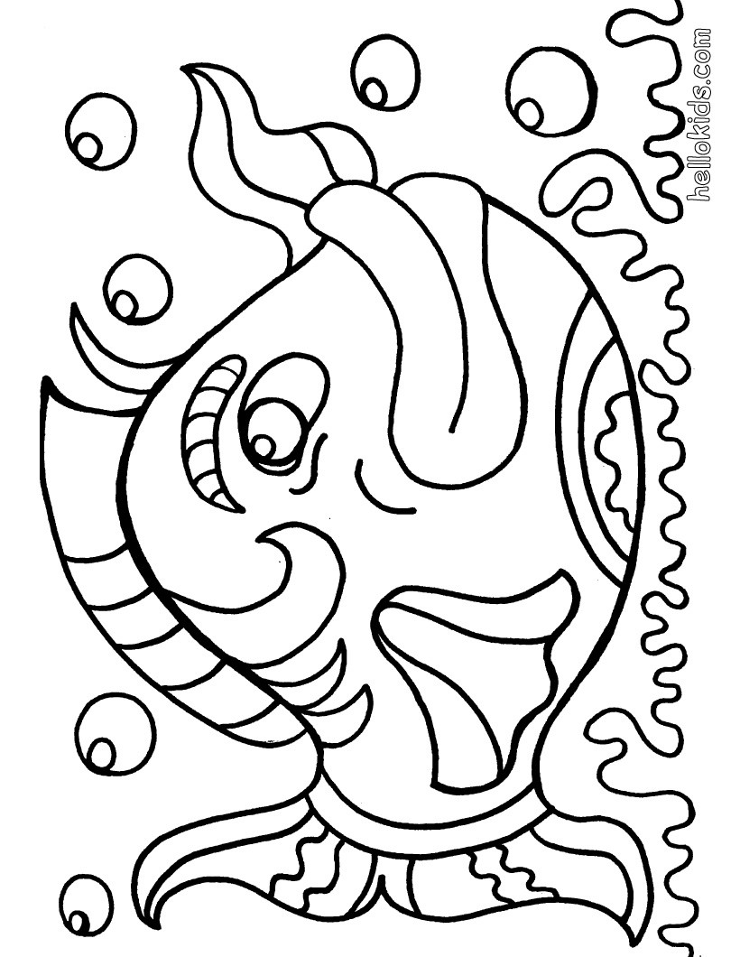 820x1060 Easily Fish Colouring Picture Coloring Pages With Cartoon Girl