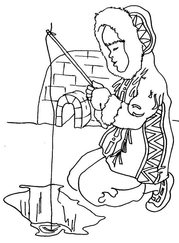 600x814 Eskimo Girl Fishing In Ice Hole Coloring Pages