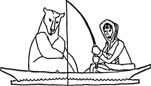 600x342 Eskimo Girl Fishing With Polar Bear Coloring Pages Eskimo Girl