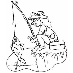 300x300 Fishing On Cliff Coloring Sheet