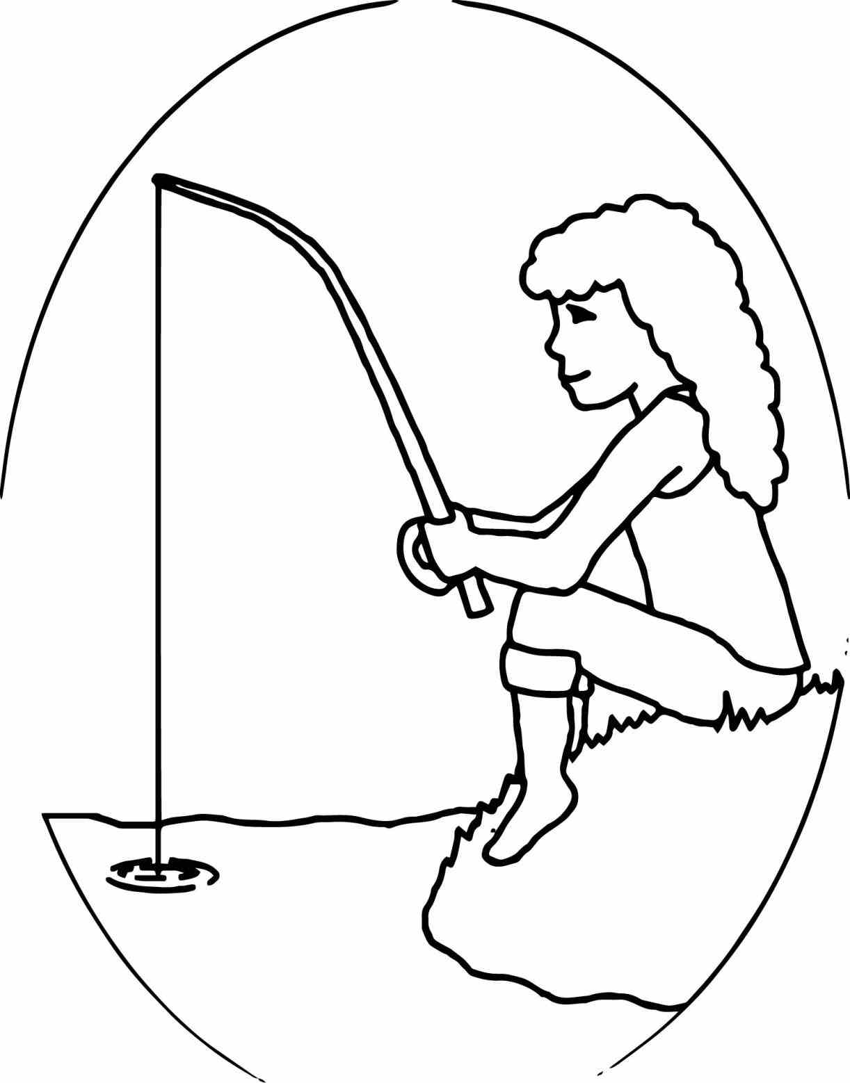 1222x1558 Girl Fishing Coloring Pages Web Coloring Pages
