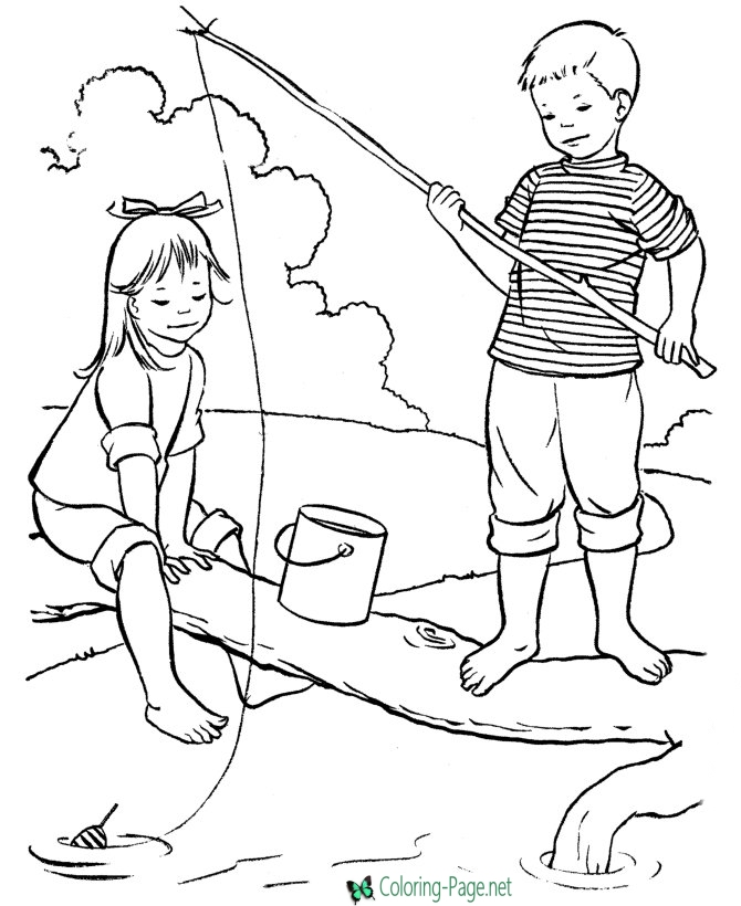 670x820 Summer Coloring Pages Girl Boy Catch Fish