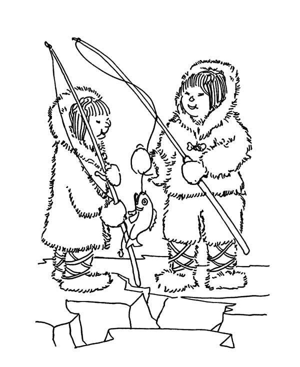 600x734 Two Eskimo Girl Fishing Fun Coloring Pages Two Eskimo Girl