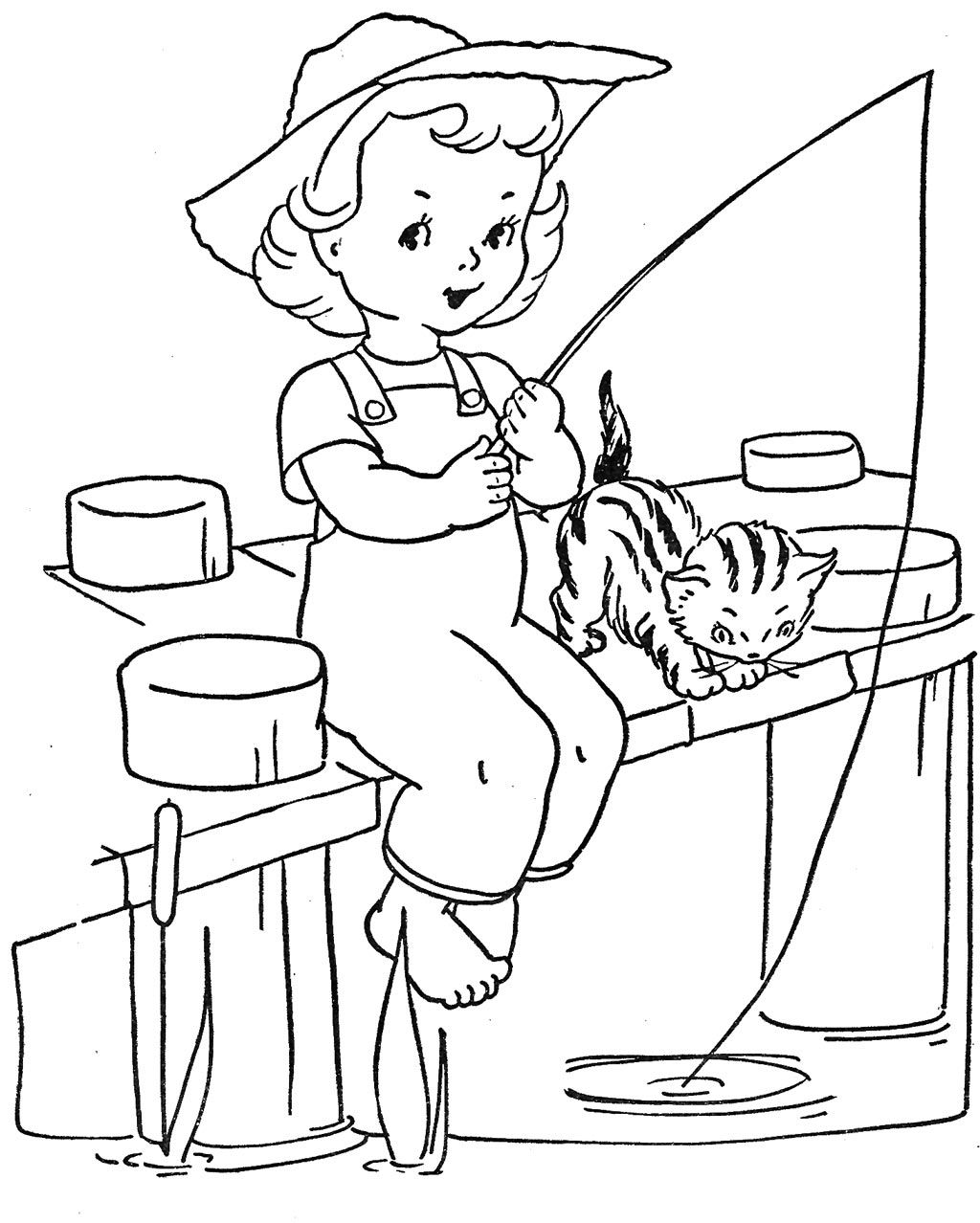 1024x1278 Little Girl Fishing Coloring Pages