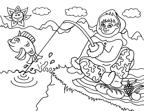 600x465 An Eskimo Girl From Alaska Going Fishing Coloring Page Color Luna