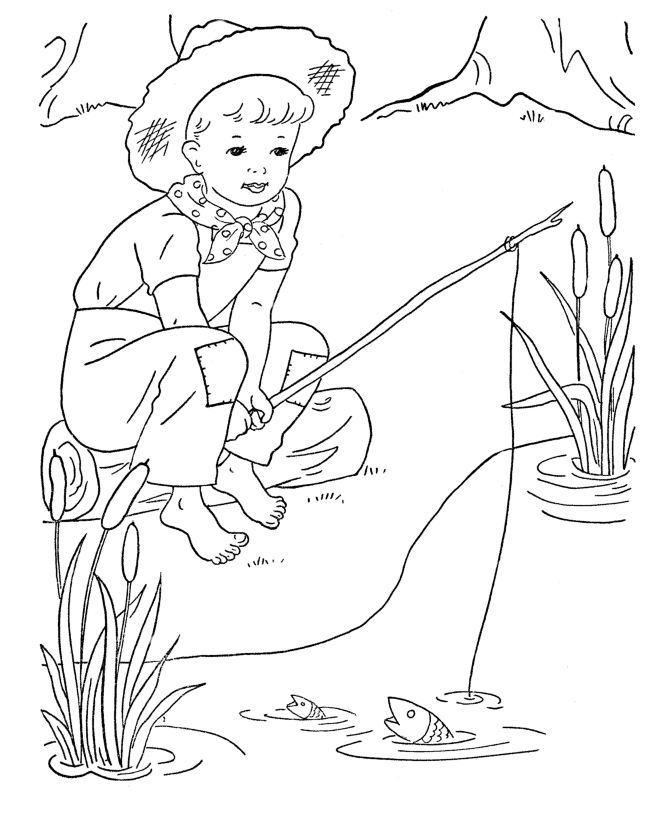 670x820 Boy Fishing Free Coloring Page Animals, Kids Coloring Pages