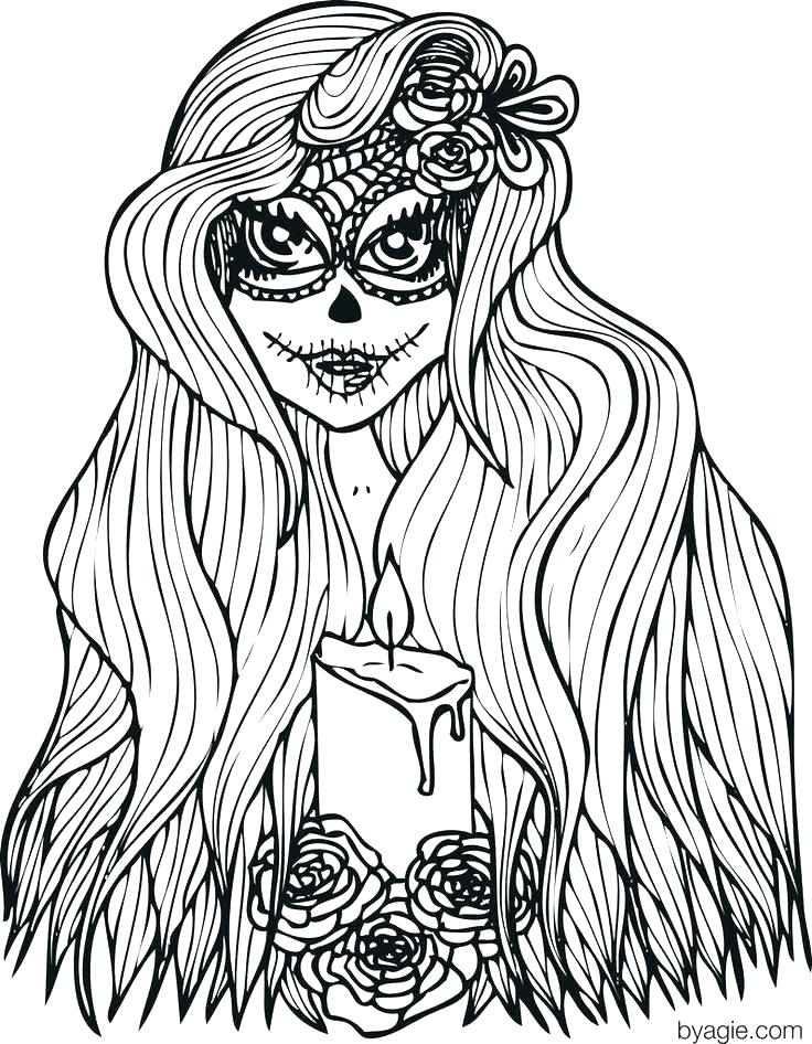 736x946 Cute Coloring Pages To Print Long Hair Coloring Pages Lady