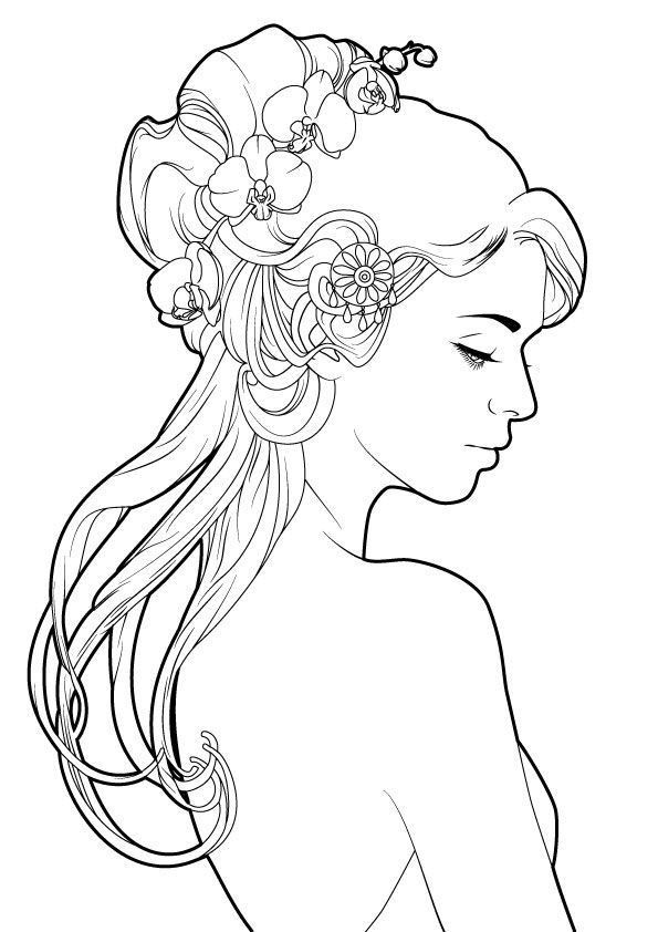 595x842 Hair Coloring Pages Beautiful Ebe Girl