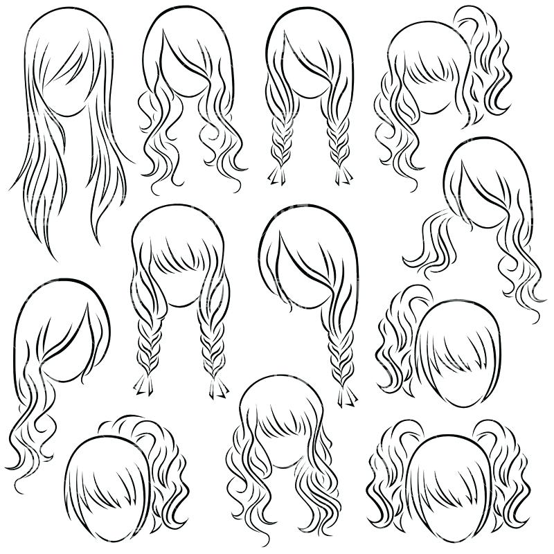 800x800 Hairstyle Coloring Pages With Long Hair Coloring Page Hairstyle