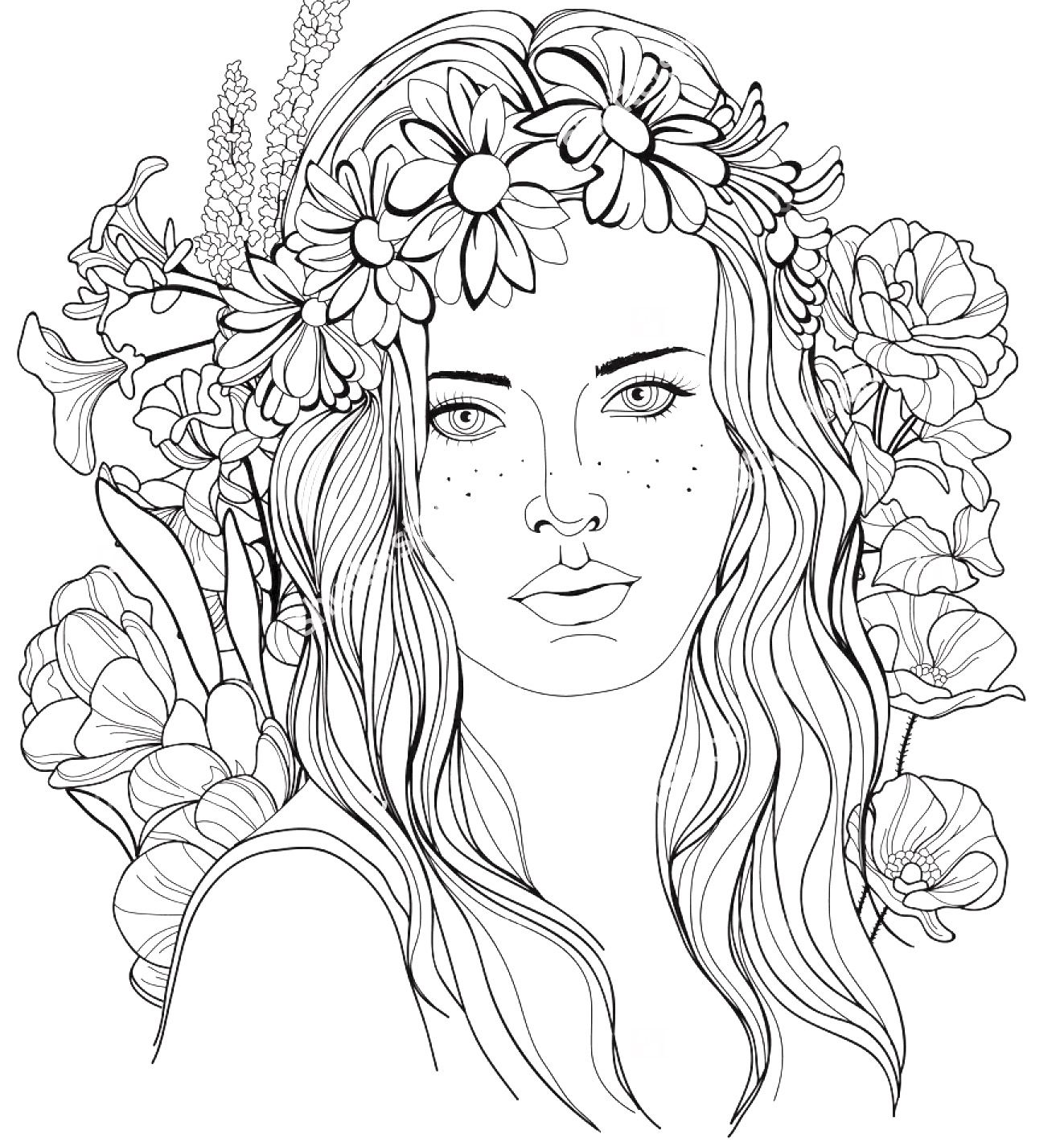 1323x1425 Image Of A Girl With A Floral Wreath In Her Hair Coloring Page