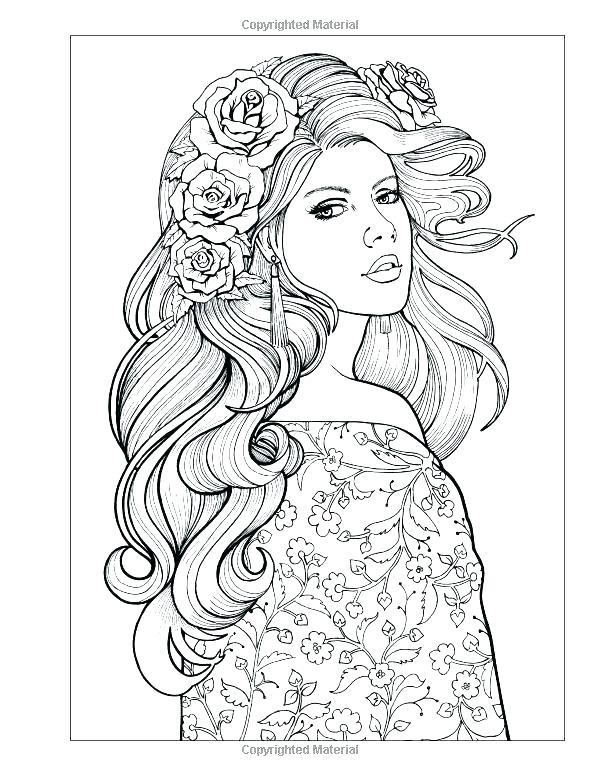 600x776 Adult Coloring Pages Hair Female Coloring Pages Hairstyle Coloring