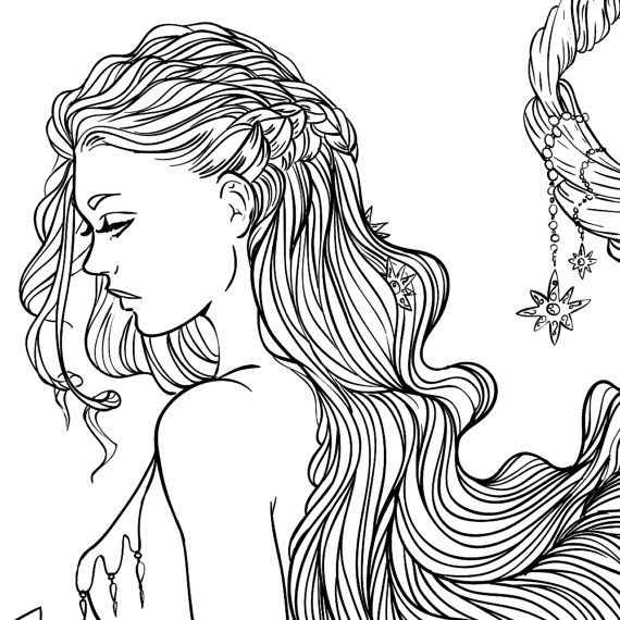 570x570 Adult Coloring Page Fantasy Moon And Stars Girl Line Art