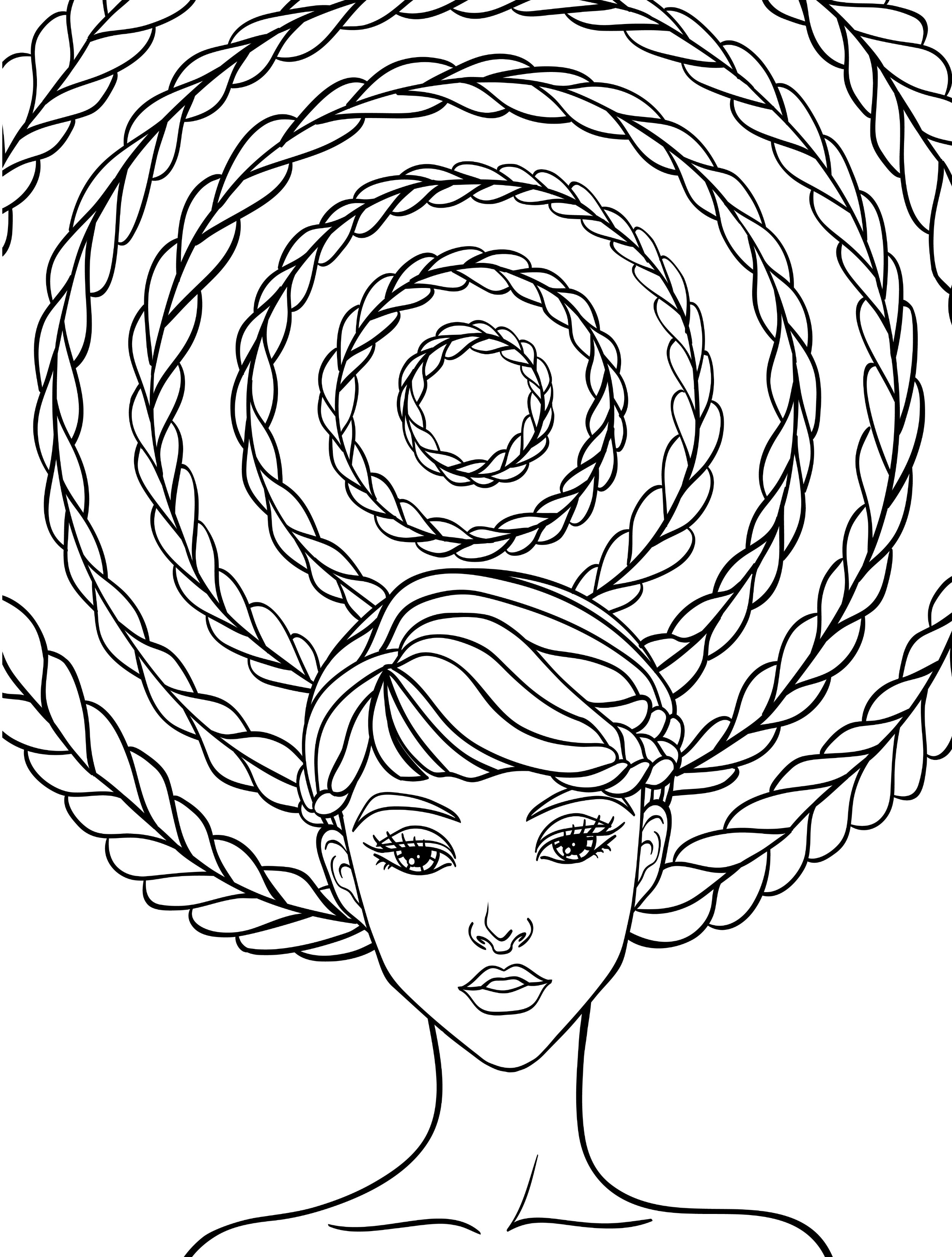 2500x3300 Coloring Pages Hair Of Crazy Fresh Girl Brushing Her Within