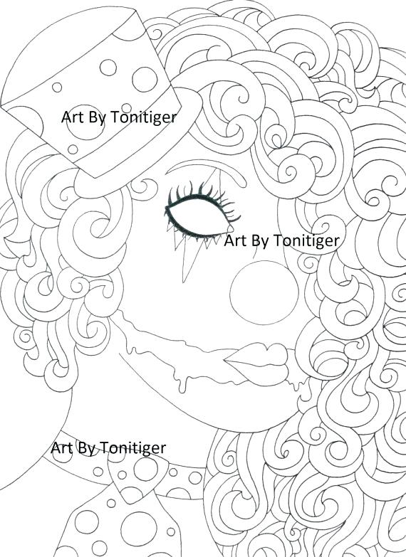 570x783 Instant Digital Download Coloring Page Scary Clown Girl Instant