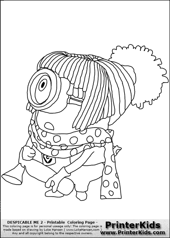 Girl Minion Coloring Page