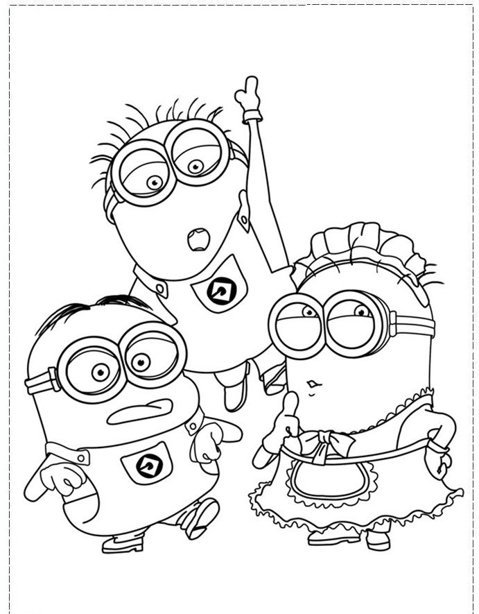 691x885 The Minion Character Girl And Boy Coloring Pages
