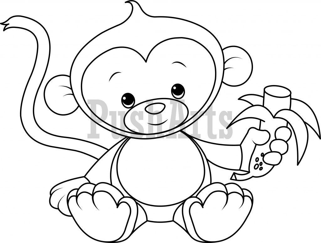 1024x774 Baby Monkey Eating Banana Coloring Page Pusharts