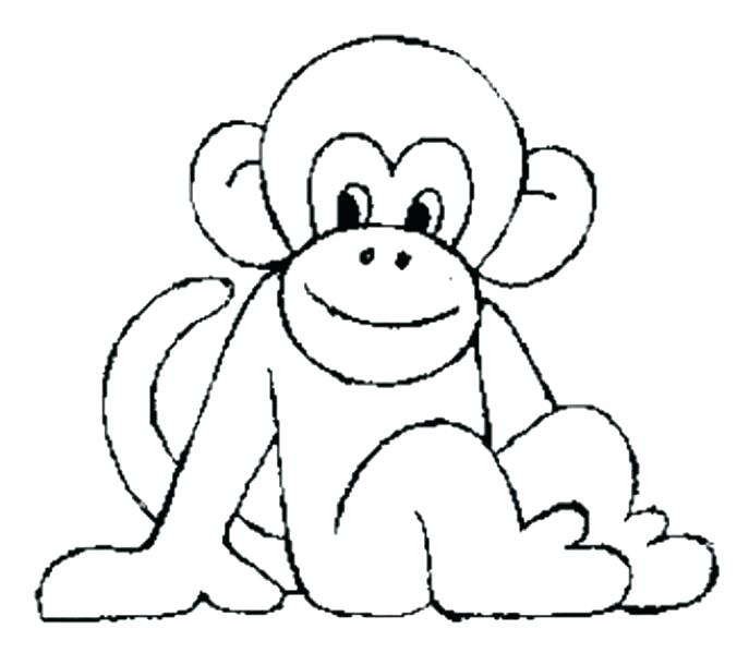 687x610 Baby Monkey Coloring Pages Baby Monkey With Flower Coloring Page