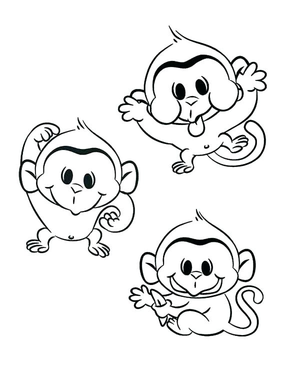 600x750 Baby Monkey Coloring Pages Click To See Printable Version Of Baby