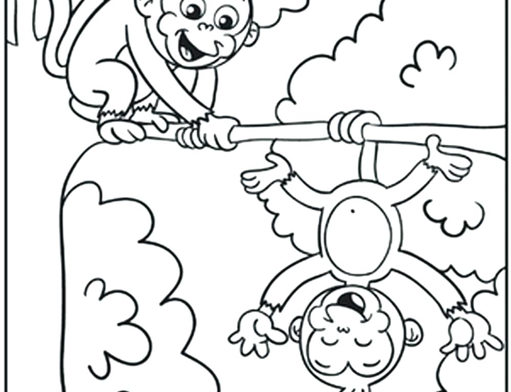 1000x768 Baby Monkey Coloring Pages Monkey Color Pages Dancing Monkey