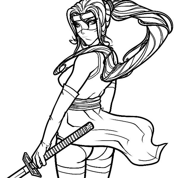 595x600 Girl Ninja Coloring Pages Ninja Coloring Pages Ninja Girl