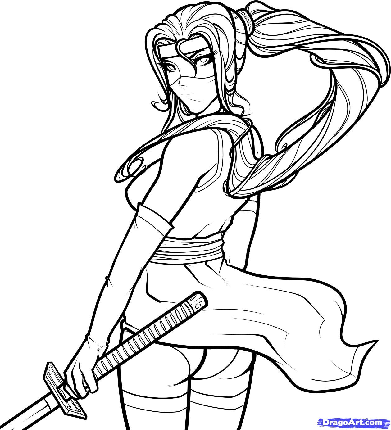 1259x1385 Girl Ninja Coloring Pages