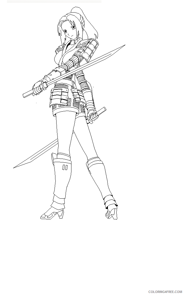 631x1010 Ninja Girl Coloring Pages For Adults