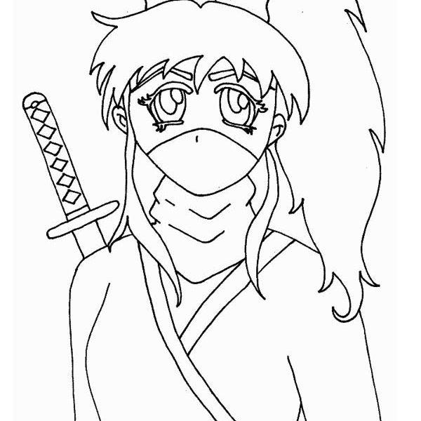 600x600 Girl Ninja Coloring Pages Long Haired Ninja Girl Coloring Page