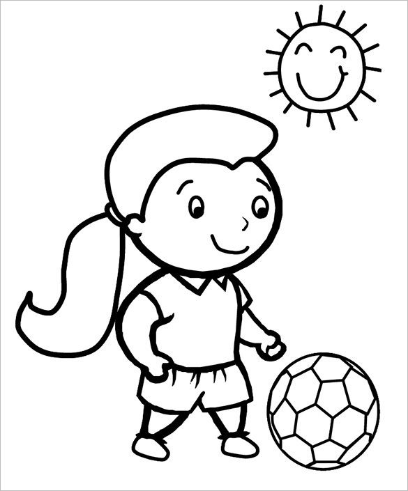 Girl Playing Soccer Coloring Pages