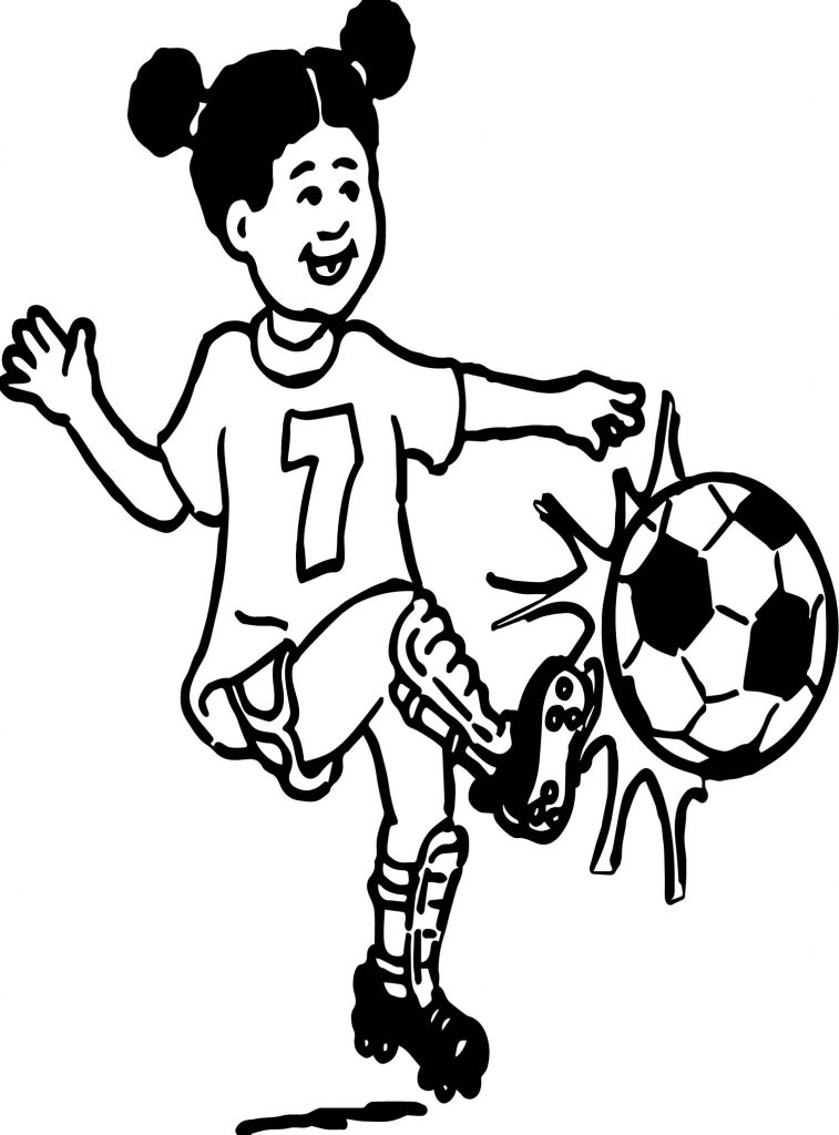 757x1024 Girl Playing Soccer Playing Football Coloring Page Wecoloringpage
