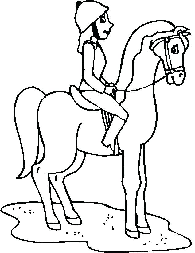 635x824 Girl Riding Horse Coloring Pages Horseback Magnificent Pictures